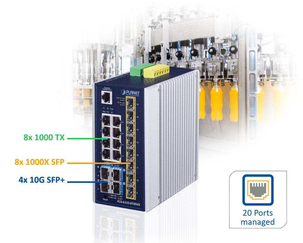 IGS-6325-8T8S4X-20-Port LWL Ethernet Switch mit 10G SFP+